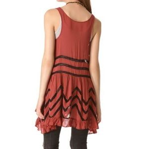 Free People voile & lace red trapeze slip